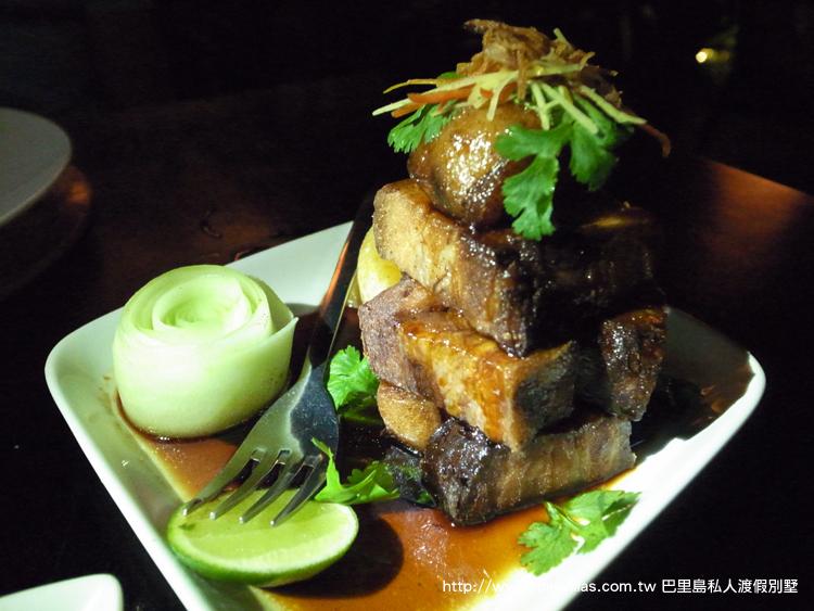 香脆豬肚肉佐黑醋焦糖及嫩薑辣椒 沙龍餐廳 峇里島 水明漾